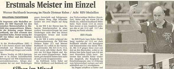 Werner Burkhardt zum ersten Mal Deutscher Meister im Einzel vor Dietmar Kober
