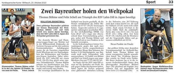 Zwei Bayreuther holen Weltpokal