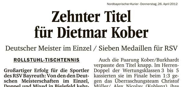 Zehnter Titel für Dietmar Kober
